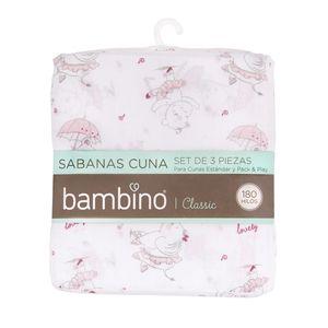 BAMBINO<BR>SET SÁBANA CLASSIC ROSADA BAILARINA, 70 X 140 CM, BAMBINO