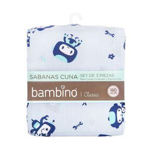 BAMBINO<BR>SET DE SÁBANAS PARA CUNA, DISEÑO ESPACIAL, 70 X 140 CM, BAMBINO