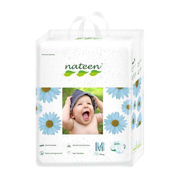 Pañales Desechables Premium Nateen Talla: M (4 - 9 Kg) 72 uds  Nateen - babytuto.com