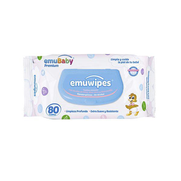 Toallitas húmedas Emuwipes premium 80 unidades Emubaby / EMUWIPES - babytuto.com