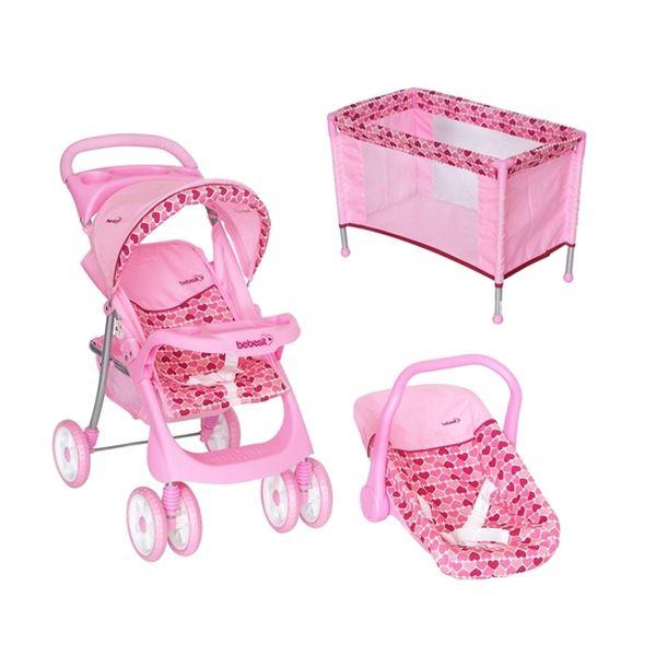 Set para muñeca coche travel y cuna corazones Bebesit Bebesit - babytuto.com