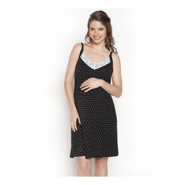 Camisa de dormir broche negro puntos Nala Maternity Nala Maternity - babytuto.com