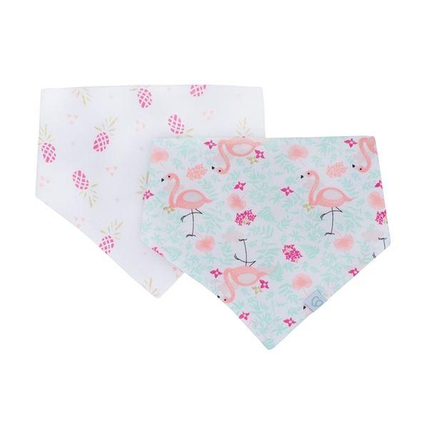 Pack 2 baberos bandana blanco rosado flamingo Bambino Bambino - babytuto.com