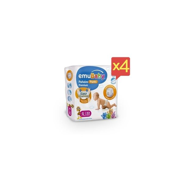 Pack x 4 Pañales Desechables Pants Emubaby Talla: G (9 - 13 Kg) 88 uds  EMUBABY - babytuto.com