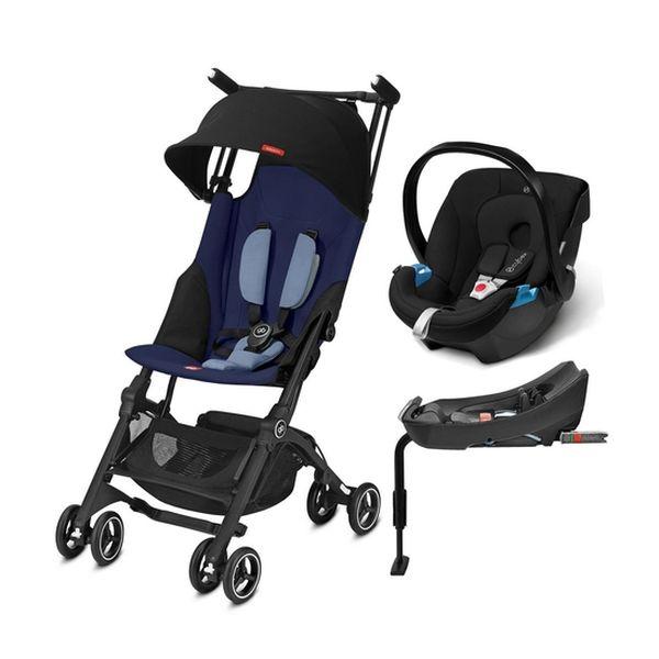 Coche Travel System Pockit Plus, Azul + Silla Aton + Base 2-fix, Negro, GB  GB  - babytuto.com