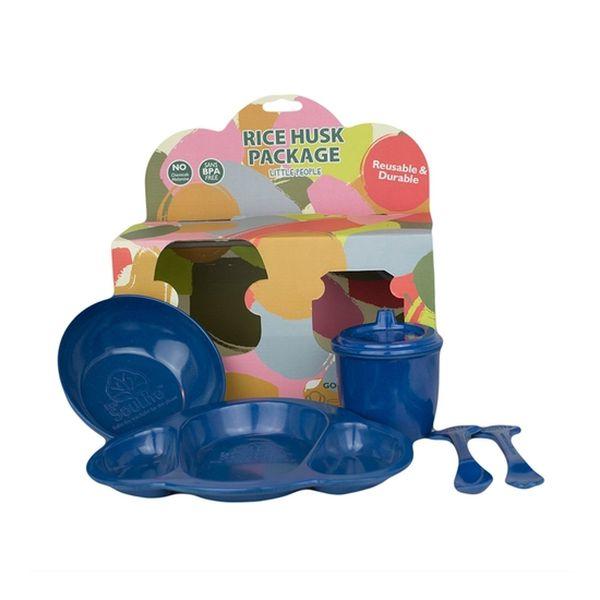 Pack biodegradable (plato+bowl+vaso antiderrame+cubiertos) azul, EcoSouLife EcoSouLife - babytuto.com