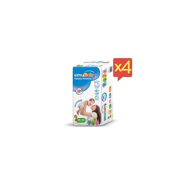 Pack x 4 Pañales Desechables Premium Emubaby Talla: M (5 - 10 Kg) 176 uds EMUBABY - babytuto.com