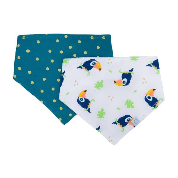 Pack 2 baberos bandana blanco azul tucán Bambino Bambino - babytuto.com