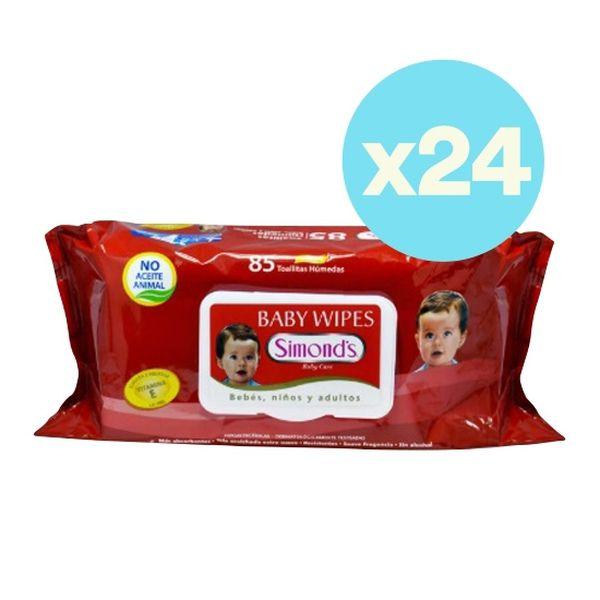 Caja de toallitas húmedas con vitamina E, tapa roja 24 x 85 uds, Simond's Simond's - babytuto.com