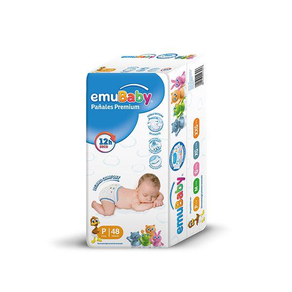Pañales Desechables Premium Emubaby Talla: P (3 - 6 Kg) 48 uds EMUBABY - babytuto.com
