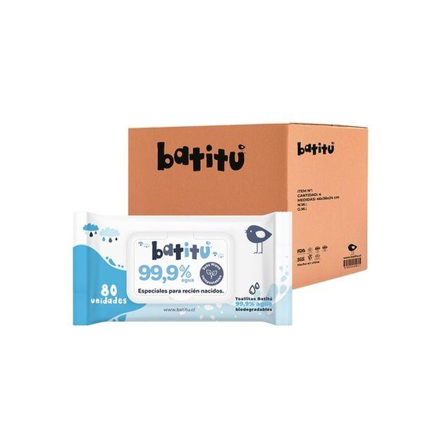 Caja de toallitas húmedas 99,9% agua compostables 12 unidades, Batitu Batitu - babytuto.com