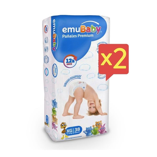 Pack x 2 Pañales Desechables Emubaby Talla: XG (12 - 15 Kg) 76 uds Emubaby - babytuto.com