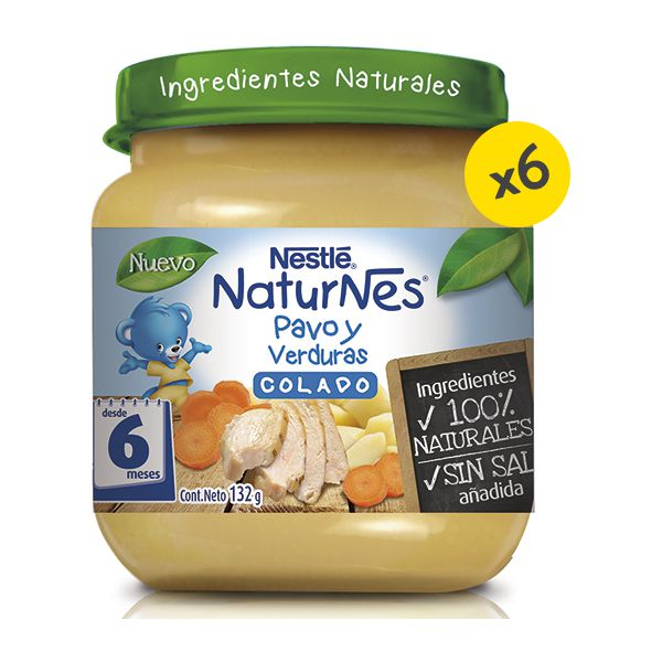 Pack de 6 colados para bebés pavo con verduras. 132 gr Nestlé - babytuto.com