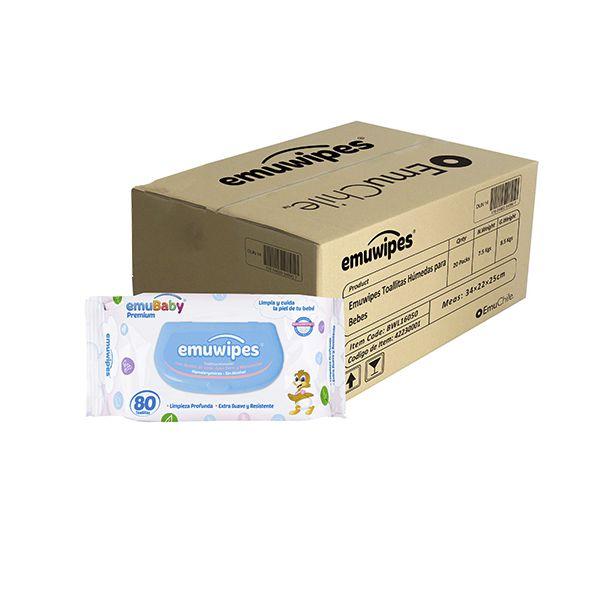 Caja de 18 bolsas de toallitas húmedas Emuwipes premium de 80 unidades Emubaby / EMUWIPES - babytuto.com