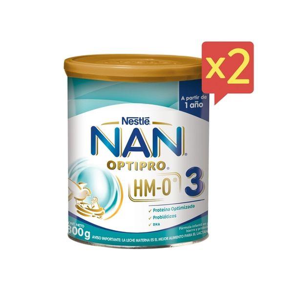 Pack 2 Fórmula Infantil NAN® OPTIPRO® 3 con HM-O 800g Nestlé - babytuto.com
