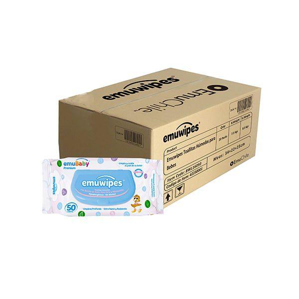 Caja de 20 bolsas de toallitas húmedas Emuwipes. Modelo: Premium  Emubaby / EMUWIPES - babytuto.com