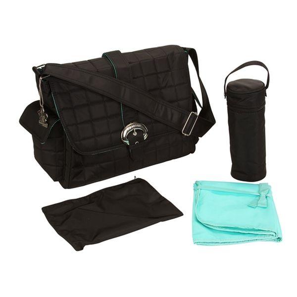 Bolso Maternal Buckle Bag Quilted Quilt Black Kalencom Kalencom - babytuto.com