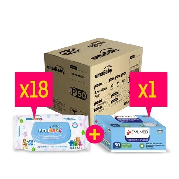 Caja De Toallitas Húmedas Emuwipes 18 unidades + 1 Caja De Mascarillas 50 u Emuwipes - babytuto.com