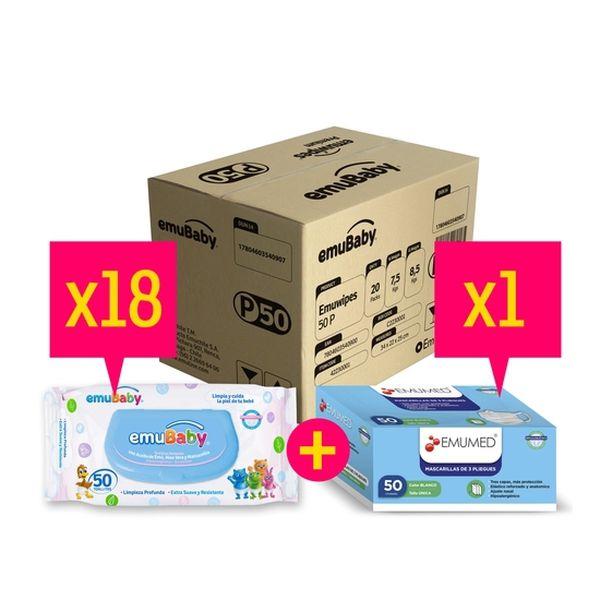 Caja de toallitas húmedas 18x50 uds premium + 1 caja de mascarillas, Emuwipes Emuwipes - babytuto.com