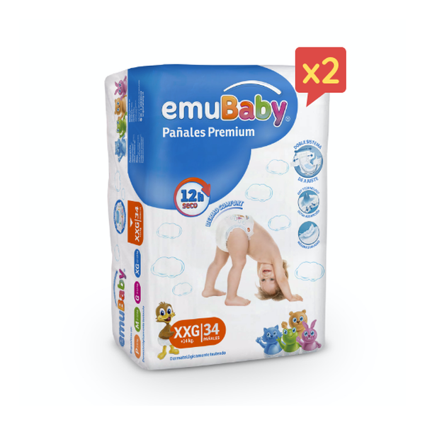 Pack pañales desechables premium Emubaby Talla: XXG (+14 Kg) 68 uds Emubaby - babytuto.com