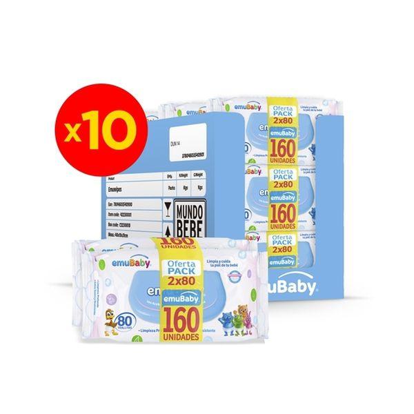 Caja de toallitas húmedas 20x80 unidades, Emuwipes Premium Emuwipes - babytuto.com