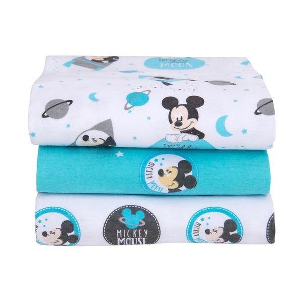 Pack 3 mantitas franela Mickey celeste Bambino Bambino - babytuto.com