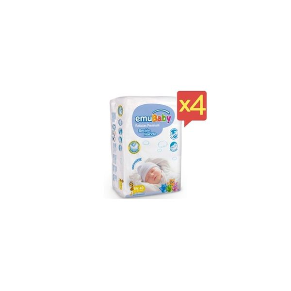 Pack x 4 Pañales Desechables Premium Emubaby Talla: RN (-3 Kg) 160 uds EMUBABY - babytuto.com