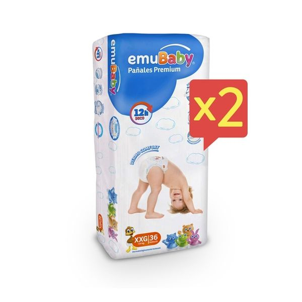 Pack x 2 Pañales Desechables Premium Emubaby Talla: XXG (+14 Kg) 72 uds EMUBABY - babytuto.com