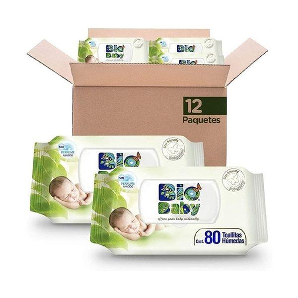 Caja de toallitas húmedas, 12  x 80 unidades, Biobaby Biobaby - babytuto.com