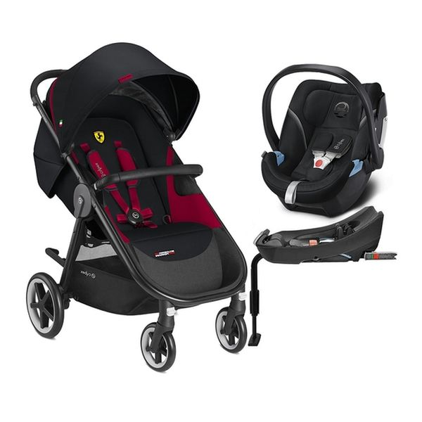 Coche Travel System Agis 4 Ferrari + Silla Aton 5 + Base, Negro, Cybex Cybex - babytuto.com