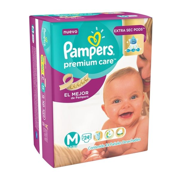 Pañal Desechable Premium Care Talla: M (6 - 9,5 Kg) 24 udsPampers Pampers - babytuto.com