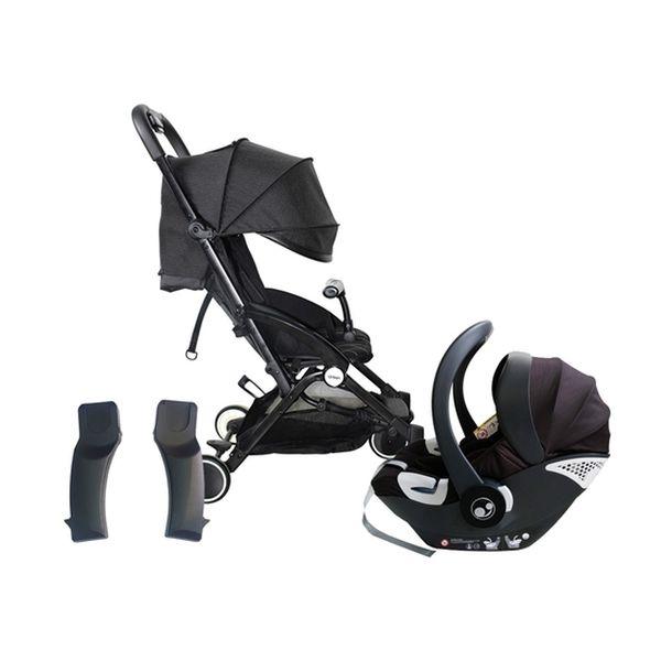 Coche urban negro con adaptador x1 para urban + silla de auto x1 negro BBpro BBpro - babytuto.com