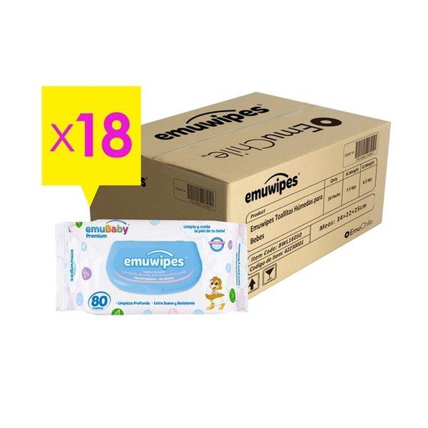Caja de toallitas húmedas premium,18 bolsas x 80 unidades ( 9 packs), Emuwipes Emuwipes - babytuto.com