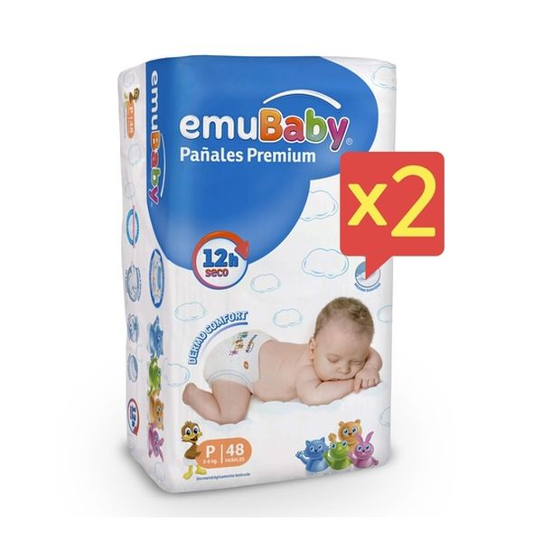 Pack x 2 Pañales Desechables Premium Emubaby Talla: P (3 - 6 Kg) 96 uds EMUBABY - babytuto.com