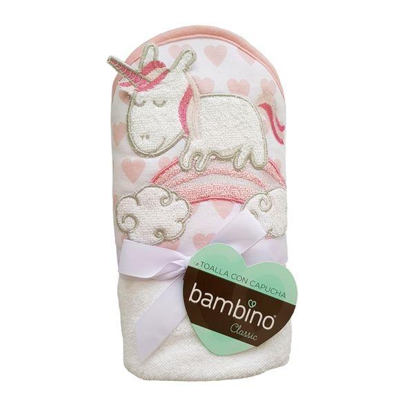 Toalla capucha classic niña rosada unicornio Bambino Bambino - babytuto.com