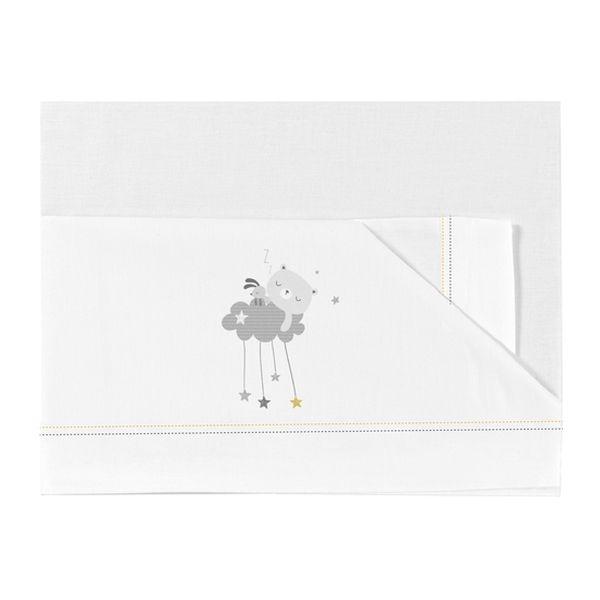 Sábanas De  Algodón Diseño Dulces Sueños Blanco Gris , 50 x 80, BimbiChic BimbiDreams - babytuto.com