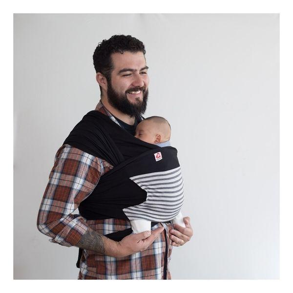Fular semielasticado negro con bolsillo rayas Canguamor Canguamor - babytuto.com